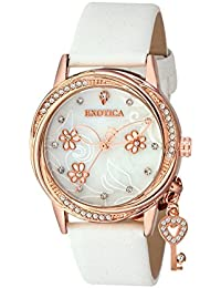 Exotica Fashions Ladies watch with water resistance Rose Gold case with Diamond Studed on Dial and White Leather band