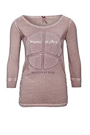 key largo damen shirt 3 4 arm shirt peace farbe rosa gr e xl bekleidung. Black Bedroom Furniture Sets. Home Design Ideas