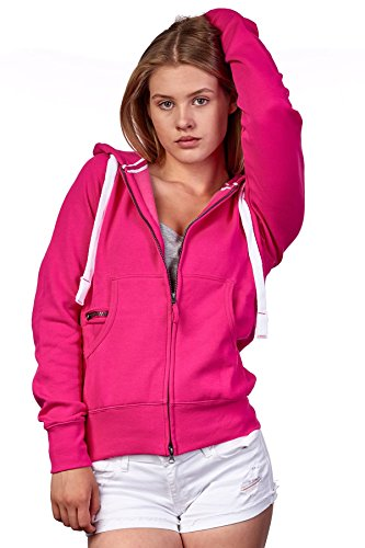 Damen Sweatjacke mit Kapuze Zip Hoodie Kapuzenjacke Basic Einfarbig S M L, Größe:L, Farbe:Fuchsia