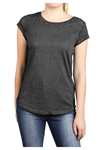 Damen Shirt mit Spitze Einfarbig PvX3jjEd