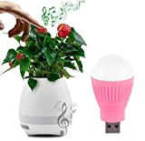 Movo Combo of Flower Pot with Bluetooth and Speaker, Leaves Touch Music, Real Plant Pot, with Led Lights (Without Plant) with Led Bulb