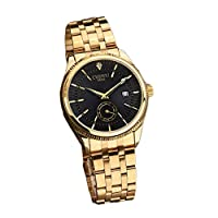 WeishenG 2019 New Gold Stainless Steel Sports Watch Gentleman Watch for Camping, Picnic and Other Outdoor Activities(None Black!)