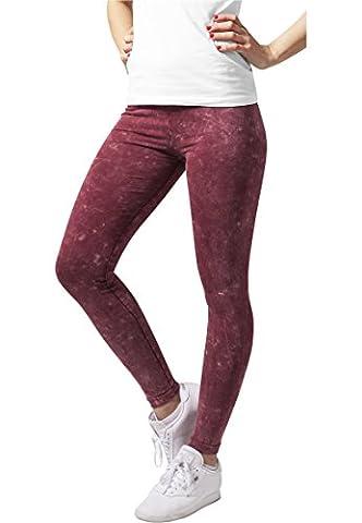 Ladies Acid Wash Leggings Urban Classics Women Streetwear Trousers, Burgundy, XS