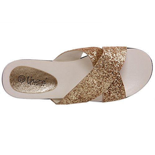 Unze Für Frauen Carie ' Glittery Crossover Slippers - AG1503-47A Gold
