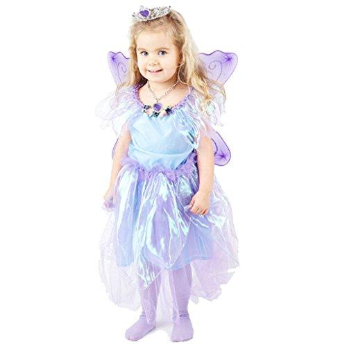 Märchenhaftes Feen Mädchen Kleid violett - Hochwertiges Kostüm Set mit verziertem Diadem, Clip Ohrhängern und Perlenkette - für Kinder von 4-5 Jahren 104-110 - Hochwertige Kinder Kostüm