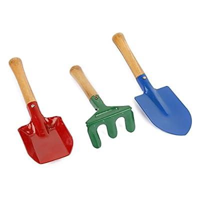 3 Stk. Metall Gartengeräte Satz Outdoor Rechen Schaufel Spielset Kinder Strand Sandkasten Spielzeug