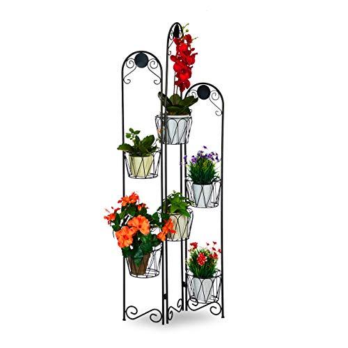 Relaxdays Blumenständer Metall, Paravent für Blumentöpfe, 6 Ablagen, Blumentreppe Indoor & Outdoor, H: 140 cm, schwarz