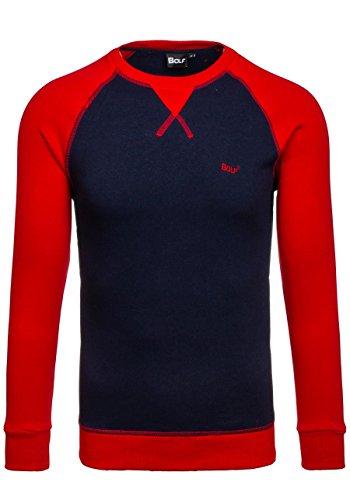 BOLF Herren Pullover Sweatshirts Langarm Pulli ohne Kapuze MIX Dunkelblau_74
