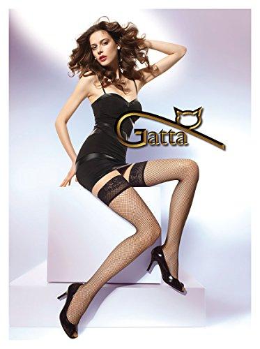 Gatta Margherita 01 - sexy eleganter transparenter halterloser Netzstrumpf - Stay-Up - Stay-Up - Größe M-L - Nero (Stay Satin Ups)