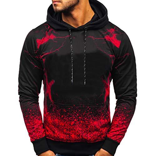 Xmiral Herren Pullover Farbverlauf Kapuzenpullover Slim Fit Pullover Bluse mit Kapuze Moderner Hoodie-Sweatshirt-Pulli Pullover-Shirt(Rot,XXL)