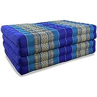 30x50x120 cm Asiatisches Sitzkissen Kapok Blau Guru-Shop Thaikissen Thaimatte Dreieckskissen Liegematte Tagesbett mit 2 Auflagen