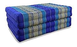 Asia Wohnstudio Kissen Klappmatratze aus Kapok, faltbare Gästematratze, klappbare Matratze, asiatische Faltmatratze (blau)