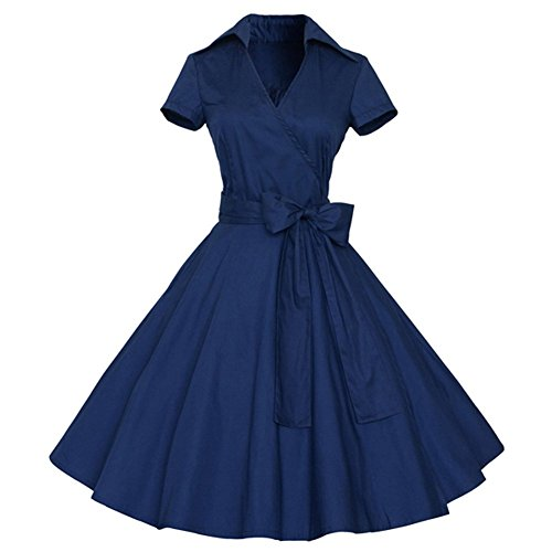 REPHYLLIS - Robe - Cocktail - Manches Courtes - Femme Bleu - Bleu