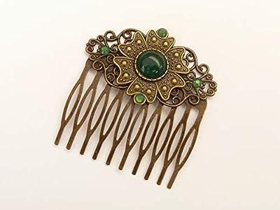 Peigne à cheveux avec jade vert