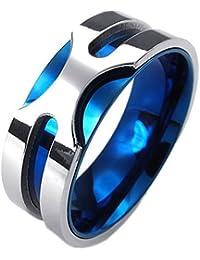 KONOV Schmuck Herren-Ring, Edelstahl, 8mm Klassiker Bandring, Blau Silber