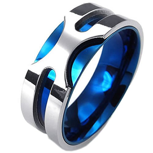 Konov Jewellery Mens Stainless Steel Ring, 8mm Classic Band, Color Blue Silver, Size M (with Gift Bag)