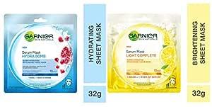 Garnier Skin Naturals, Hydra Bomb, Face Serum Sheet Mask (Blue), 32g and Garnier Skin Naturals, Light Complete Face Serum Sheet Mask (Yellow), 30g