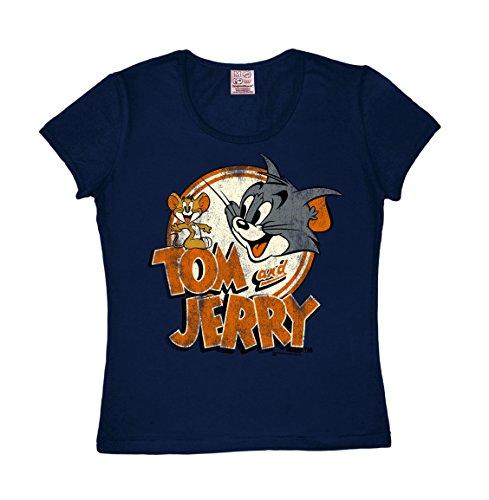 Frauen T-Shirt Tom & Jerry Logo - Cartoon - Rundhals T-Shirt von Logoshirt - dunkelblau - Lizenziertes Originaldesign, Größe M (Cartoon-logo-shirt)
