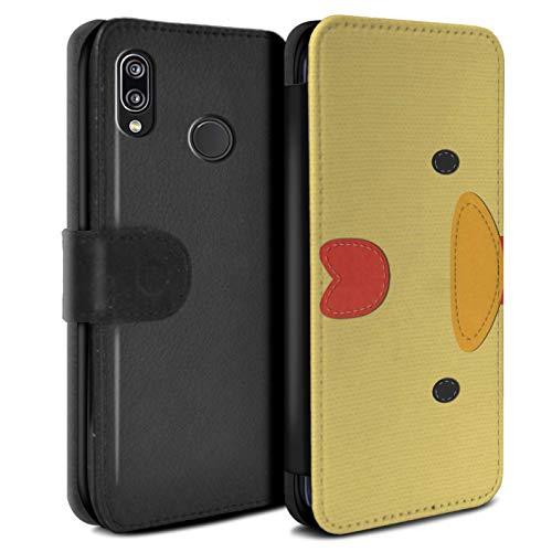 eSwish PU-Leder Hülle/Case/Tasche/Cover für Huawei P20 Lite/Huhn Muster/Genähte Tier Effekt Kollektion -