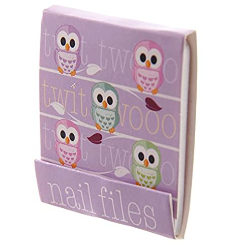 Cute Owl Design Nail File Emery Board Matchbook (Purple)