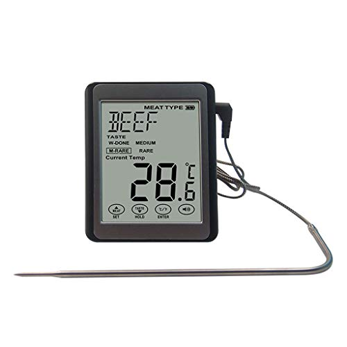 M-JH Bratenthermometer, DREI-Farben-Hintergrundbeleuchtung Großbild-Display Thermometer Grillgrill Temperatur Küche Lebensmittel Thermometer
