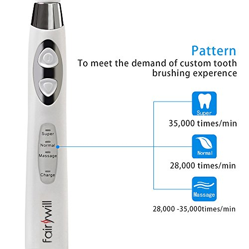 Image of Electric Sonic Toothbrush Clean Your Teeth like a Dentist Rechargeable 4 Hours Charge Minimum 30 Days Use 3 Optional Modes Waterproof for Bath and Shower 3 Replacement Heads White by Fairywill