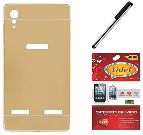 Tidel Luxury Metal Bumper Acrylic Mirror Back Cover Case For Lenovo A6010- Golden With Tidel Screen Guard & Stylus  available at amazon for Rs.198