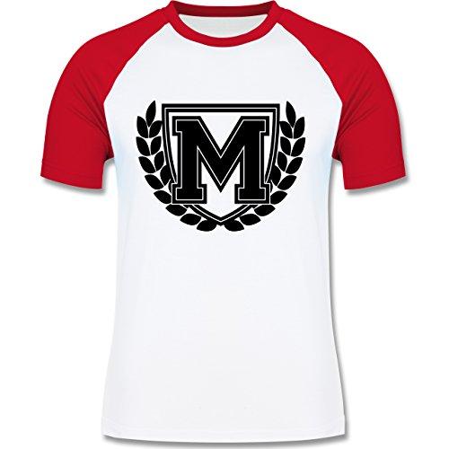 Anfangsbuchstaben - M Collegestyle - zweifarbiges Baseballshirt für Männer Weiß/Rot