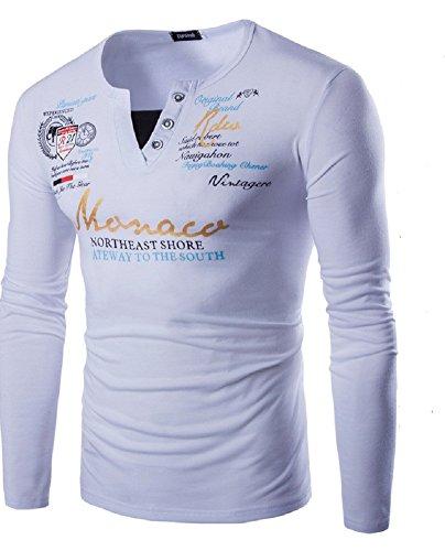 BOMOVO Herren V-Ausschnitt Interlock Slim T-Shirt Weiß