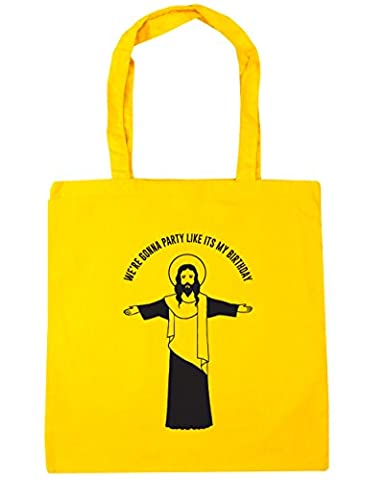 HippoWarehouse We're gonna party like it's my birthday Jesus Tote Shopping Gym Beach Bag 42cm x38cm, 10