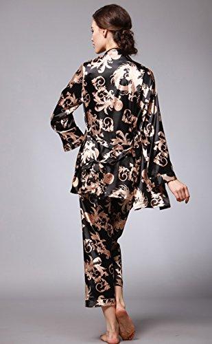Pigiama da donna in raso 3 pezzi Imposta pigiama in seta elegante Pigiama da notte Pigiami lunghi Nero