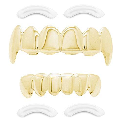 Top Class Jewels 24K vergoldeter Grillz mit Micropave CZ Diamanten + 2 EXTRA Formteile (Jeder Stil, Weißgold, Silber, Gold, Diamanten) (Gold mit Reißzähnen)