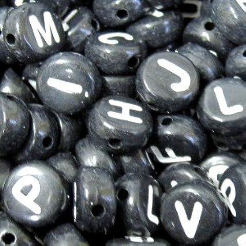 6,5 mm, 400 pezzi, colore: nero, con perline, motivo: lettere dell