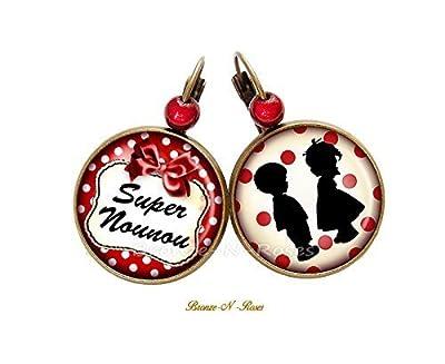 Boucles d'oreilles * Super Nounou * cadeau nourrice rouge enfants dormeuses
