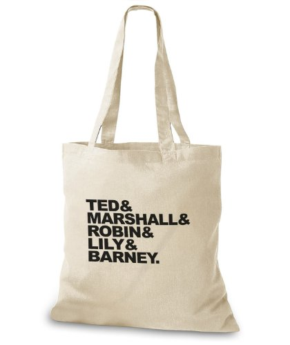 StyloBags Jutebeutel / Tasche Ted, Marshall, Robin, Lily & Barney Natur