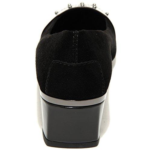 30690 decollete donna TOD'S gomma t 50 bucature scarpe shoes women Nero