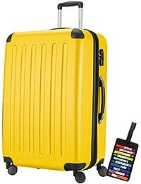 Hauptstadtkoffer® Valigia (128 litri) con un lucchetto TSA Seria SPREE (Colore Giallo con 1 ciondolo per la valigia)