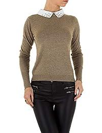 10973 Damen Feinstrick Pullover Damenpullover Langarm Rundhalsausschnitt Perlen