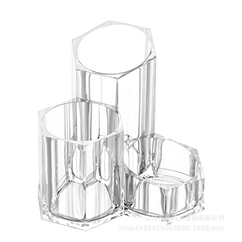 Fyore Acrylique Maquillage Organisateur de Bureau 3 Compartiments Pot a Pinceau Cosmetique Rangement (Design B)