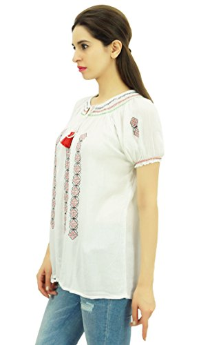Casual Kurta gestickte Short Sleeve Tunika Frauen Rayon Stoff Top Wear Weiß