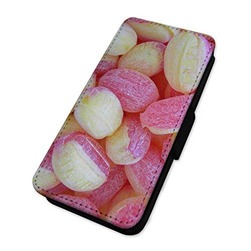 Retro dolci–rabarbaro e crema pasticcera–Flip cover in pelle cover Apple iPhone 4/4S