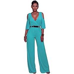 Dooxi Femmes Manche Longue Partie de Soirée Combinaisons Jumpsuit Col V Taille Haute Large Jambe Combinaison Pantalon Bleu Ciel M