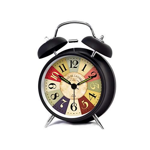 Despertador JXLBB Negro Blanco Brújula Creativo Mudo Luz de la Noche Linda Estudiante Cama País Europeo Retro Reloj Pequeño Reloj (Color : Negro, Tamaño : L)