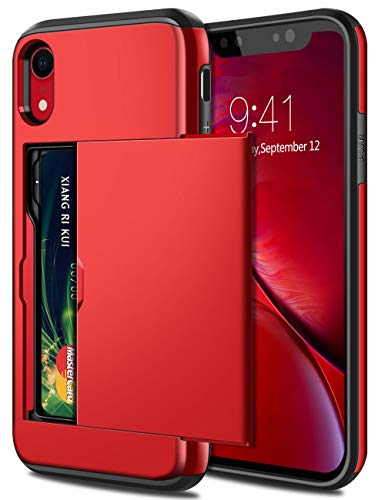 SAMONPOW Fall für iPhone Xr Hybrid iPhone Xr-Mappen-Kasten-Karten-Slot-Halter Heavy Duty-Schutz Anti-Scratch-Dual Layer Harter PC-weicher Gummistoßabdeckungs Metallic Red Heavy-duty-iphone Fall