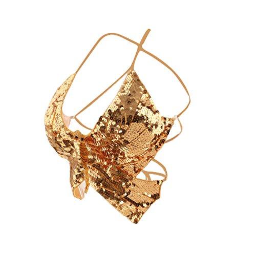 Phenovo Bauchtanz Schmetterling BH Top Sexy Tanz Kostüm Sequin - Gold, one (Bh Tanz Sport Kostüm Für)