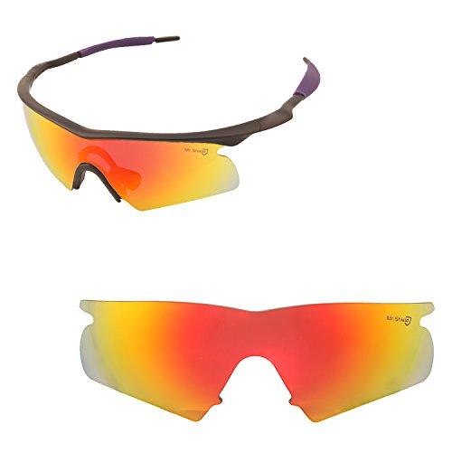 Walleva Ersatzlinsen oder Objektive mit schwarzem Nosepad für Oakley M Frame Hybrid - 40 Optionen erhältlich, Herren, Fire Red Mirror Coated - Mr. Shield Polarized