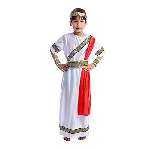 Römischen Childs Toga Kostüm - Toyvian Ancient Romman Boy Cosplay Kostüm für Geschichte Thema Halloween Rollenspielset Robe Gürtel Stirnband Armband Größe L