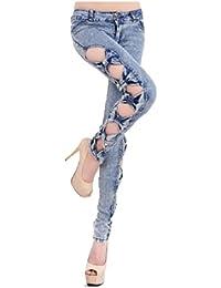 4.Farbeb XS/S Jeans Hose mit Schlitz Schleifen (XS/S, Jeansblau)