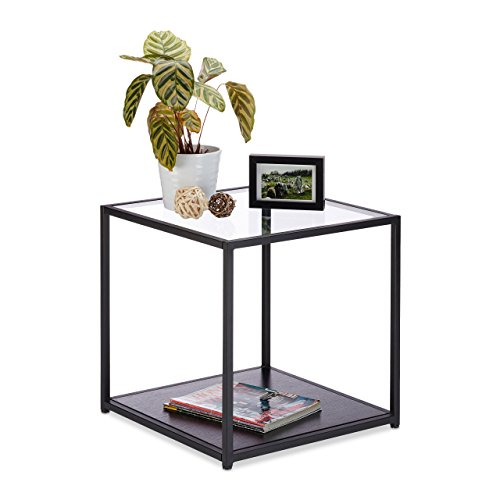 Relaxdays Beistelltisch Glas+Holzablage, Metallgestell, robust, quadratisch, Flacher Couchtisch HBT 50x50x50 cm, schwarz (Couchtisch Aus Glas Schwarz)