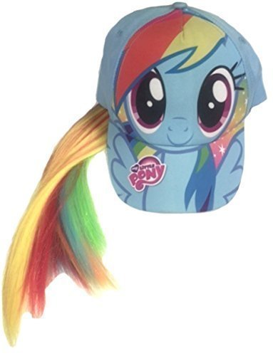 Girls My Little Pony Rainbow Dash Unicorn Light Blue Baseball Cap Childrens Hat with Ponytail Hair
